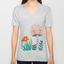 pink mushroom with floral elements Unisex V-Neck