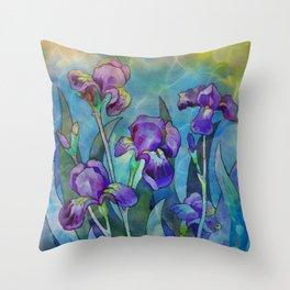 Fantasy Irises Throw Pillow