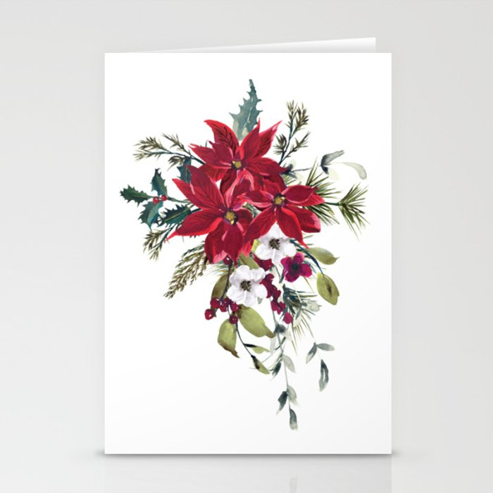 Christmas Stationery.Poinsettia Flower Watercolor Red Flower Christmas Stationery Cards By Colorflowcreations