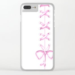 Laced Pink Ribbon on White Clear iPhone Case