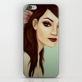 Girl with flower  iPhone Skin