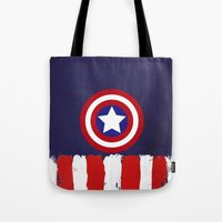 "steve rogers Tote Bags featuring Captain ""Steve Rogers"" America by Some_Designs"