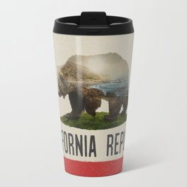 California Grizzly Bear Flag Travel Mug