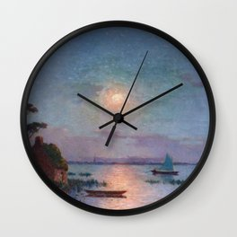 View of the Briere in the Setting Sun - Tropical Impressionist Oil, Seascape by Ferdinand du Puigaudeau Wall Clock