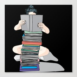 Wall art - The girl studies hard pile of books Canvas Print