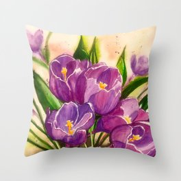 Crocuses Watercolor Painting Throw Pillow