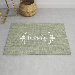 Family on Green Burlap Rug