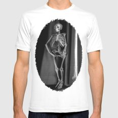 The Skeleton by the Printer Mens Fitted Tee White MEDIUM