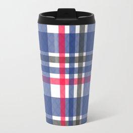 Navy & red tartan plaid Travel Mug