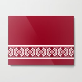 Red Jacquard Metal Print