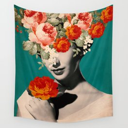 WOMAN WITH FLOWERS Wall Tapestry