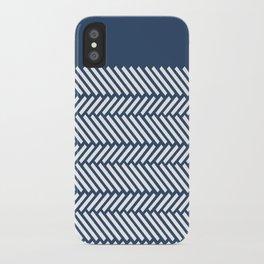 Herringbone Boarder Navy iPhone Case