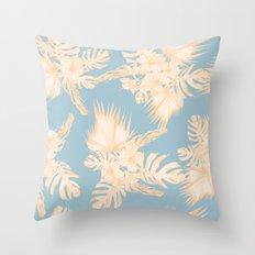 Island Vacation Hibiscus Palm Mango Sky Blue Throw Pillow