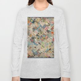 Vintage Japanese matchbox collage Long Sleeve T-shirt
