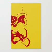 minnie mouse Canvas Prints featuring Mickey and Minnie Mouse by Katherine Marshall