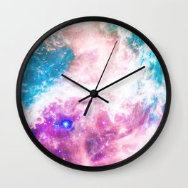 Abstract colorful turquoise pink galaxy nebula Wall Clock