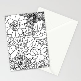 Succulent Line Drawing Stationery Cards