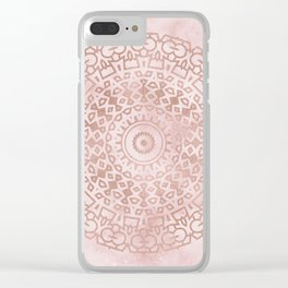 Misty pink marble rose gold mandala Clear iPhone Case