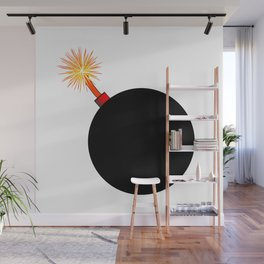 Old Black Cartoon style Bomb With Lit Fuse Wall Mural