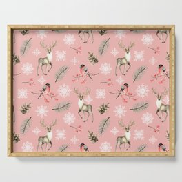 Xmas Pattern Pink #socieyt6 #buyart Serving Tray