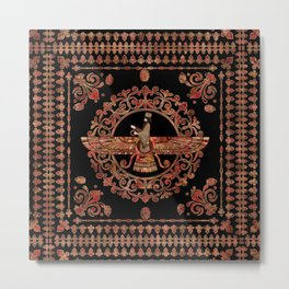 Farohar - Faravahar - Fravashi Marble and Gold Metal Print