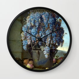 Luca Forte Still Life with Grapes and other Fruit Wall Clock