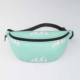 White Sailboat Pattern on seafoam blue background Fanny Pack