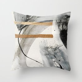 Armor [7]: a bold minimal abstract mixed media piece in gold, black and white Throw Pillow