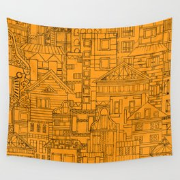 Houses - orange Wall Tapestry