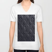 lv V-neck T-shirts featuring Black LV by I Love Decor