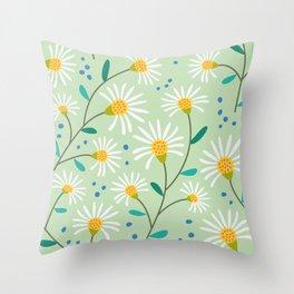 White Spring Flowers on Green Throw Pillow