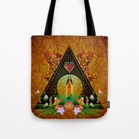 surfboard Tote Bags featuring Surfboard with flowers  by nicky2342