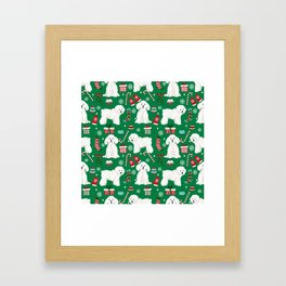 Bichon Frise Christmas dog breed pattern mittens stockings presents dog lover Framed Art Print