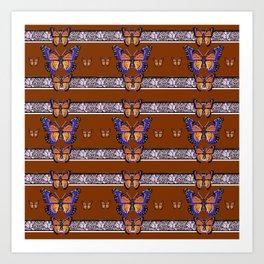 COFFEE BROWN BLUE MONARCHS BUTTERFLY BANDS ART Art Print