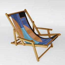 Orange Blues Geometric Shapes Sling Chair