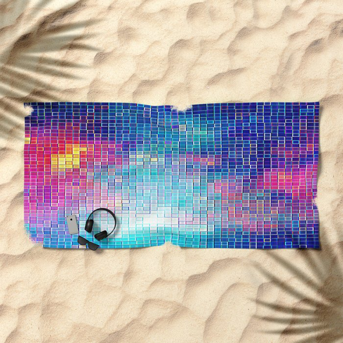 Colorful Abstract Pixels Beach Towel
