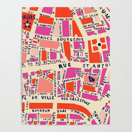 paris map pink Poster