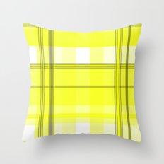 Yellow White and Gray Plaid Throw Pillow