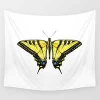 western Wall Tapestries featuring Western Tiger Swallowtail Butterfly by Cindy Lou Bailey
