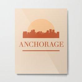 ANCHORAGE ALASKA CITY SKYLINE EARTH TONES Metal Print