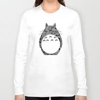 ghibli Long Sleeve T-shirts featuring Ghibli Zentangle by Riaora Creations
