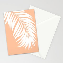 Palm Leaf White on Apricot Ice Stationery Cards