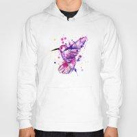 splatter Hoodies featuring Hummingbird Splatter by Ludwig Van Bacon