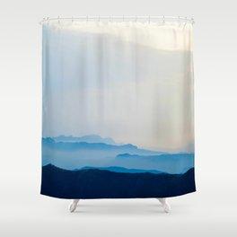 Minimalist Landscape Blue Mountain Parallax Shower Curtain
