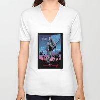 robocop V-neck T-shirts featuring Beverly Hills Robocop 2 by Adrien ADN Noterdaem