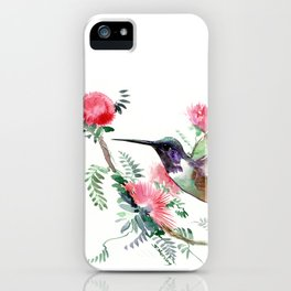 Flying Hummingbird and Red Flowers iPhone Case