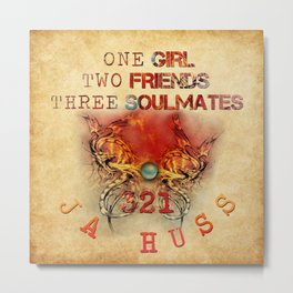 321 - One Girl, Two Friends, Three Soulmates with dragons (square) Metal Print