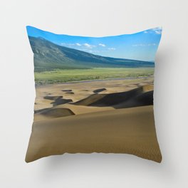 Great Sand Dunes against mountains Throw Pillow