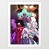 neon genesis evangelion Art Prints featuring Neon Gem Evangelion by AMC Art