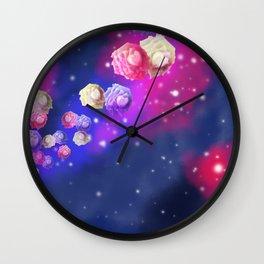 Galaxy Roses Wall Clock